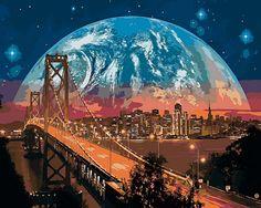 Картина по номерам, раскраска по номерам, paint by numbers, купить картину по номерам - «Мост Сан-Франциско» - Zvetnoe.ru - картины по номерам, алмазная мозаика, картина по цифрам
