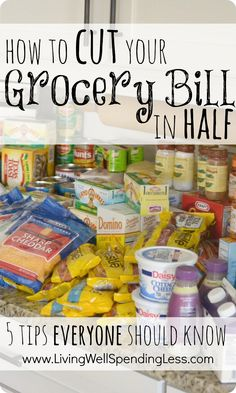 How to cut your grocery bill in half {5 tips everyone should know!}  These five simple strategies can save you hundreds each month on the food your family already buys.