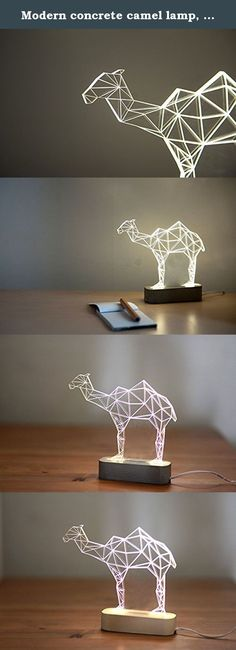 Modern concrete camel lamp, Geometric LED lamp ,concrete table lamp, animal night light, desert themed decorative lamp. Beautiful modern camel lamp, laser engraved desert themed decorative lamp. Add modern simplicity and humour to your house or office with this handmade camel lamp. Comes with a grey or sand coloured base. The lamp comes with on/off clicker and cord, fits standards worldwide 100v-240v - EU plug. Customers from the US will require a standard issue adapter. Lit by hidden…