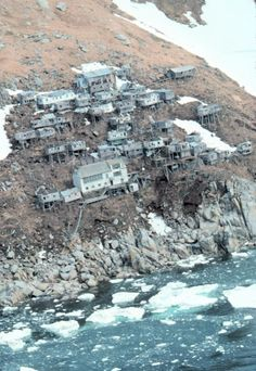 Ukivok on King Island, Alaska in the Bering Sea. Abandoned since settlers moved to the mainland.