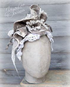 Elegant Rustic Nuno Felt Lace & Wool Headpiece by Jaya Lee Designs #wetfelt #nunofelt #woolhat #headdress #rustic #fallfashion #lacehat