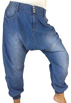 Damen Jeans Baggy Shalwar Pumphose Chino aus leichtem Baumwoll-Stoff, Gummibund mit Gürtelschlaufe, Reißverschluß und 3 Knöpfe, 2 große Eingrifftaschen + 1 kleine Tasche vorne, Taschen und Knöpfe mit Strassbesatz, breite Gummibündchen am Beinabschluss, Größen 36 - 44 Vexcon http://www.amazon.de/dp/B00N246FR8/ref=cm_sw_r_pi_dp_tWAbub0CTKZPT