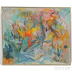 Hyde Solomon (American, 1911-1982) Painting Flowering Trees | Sale Number 2830B, Lot Number 284 | Skinner Auctioneers