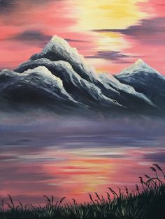 America the Beautiful - Come paint Purple Mountains Majesty at Pinot's Palette, and take home this beautiful masterpiece! #mountainpaintings #landscapepainting