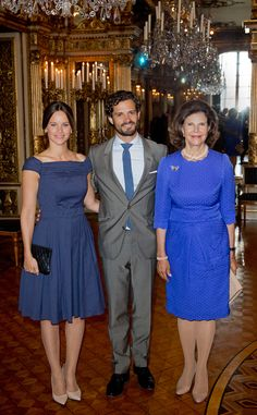 """Queen Silvia, Prince Carl Philip and Princess Sofia attended the inauguration of """"The Lilian Look"""" exhibition."""