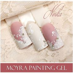Nail art with Moyra Fuse One-Step Gel Lac No. 45, No. 31, Moyra SuperShine Colour Gel No. 502 Snow, Moyra Painting Gel No. 01 White #moyra #nailart #fuse #onestep #gellac #supershine #colourgel #snow #white #feher #koromdiszites #szineszsele #festozsele #painting #gel #paintinggel #norkanaildesign