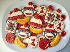 Sock Monkey Cookies~                 by SweetSugarBelle, via Flickr, red, white, yellow banana, button, number, alpha