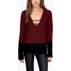 Dark Red Two Tone V Neck Long Sleeve Casual Sweater ($25) ❤ liked on Polyvore featuring tops, sweaters, v-neck tops, two tone sweater, red top, v-neck sweater and red v neck sweater