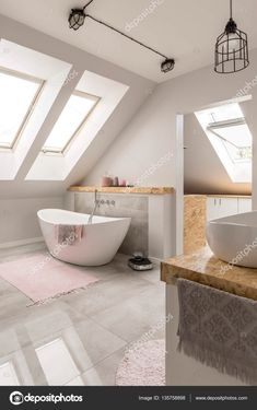 Freestanding bath in marble bathroom photo by bialasiewicz on Envato Elements White Bathroom Interior, White Marble Bathrooms, Gray And White Bathroom, Bathroom Photos, Grey Flooring, Küchen Design, Bathroom Renovations, Clawfoot Bathtub, Interiores Design