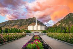 Provo Temple Pathway To Eternity - A beautiful summer sunset at the Provo Utah…