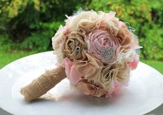 Romantic rustic ivory, champagne and blush burlap bridal wedding bouquet. Shabby chic fabric flowers. on Etsy, $110.00
