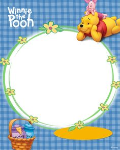 winnie the poo Cute Winnie The Pooh, Winnie The Pooh Birthday, Mickey Mouse Invitation, Farm Animal Coloring Pages, Boarders And Frames, School Murals, Birthday Frames, Pooh Bear, Eeyore