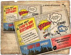 Superhero Invitation / VINTAGE Superhero birthday invite - DIY vintage comic book printable invitation