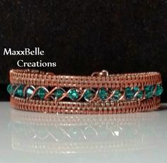 A truly beautiful original designed Egyptian style wire weave bracelet. Includes 24 Swarovski 4mm teal crystals that are encircled in 20 gauge copper. The bracelet is then framed in 18 gauge wire woven copper to provide greater stability. The hook and eye clasp, also an original design, is made of 18 gauge copper wire.   The bracelet measures approximately 7.25 around (inner diameter) and is about 1/2 across. If you would like this bracelet in a different size or with different crystal…