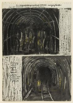 Miners Going Along Tunnel – Results – Search Objects – Henry Moore artworks Henry Moore Artwork, Anderson Shelter, Sketchbook Pages, Coal Mining, Sketchbook Inspiration, Oblivion, Working Class, 2d Art, Factories
