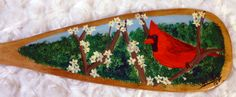 Cardinal hand-painted by Doug Wilkie Canadian Artists, Old Things, Christmas Tree, Hand Painted, Canoe Paddles, Holiday Decor, Spring, Pinot Noir, Painting