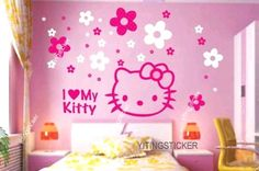 hello kitty wall decal | modern decor wall sticker art deco hello kitty by yitingsticker