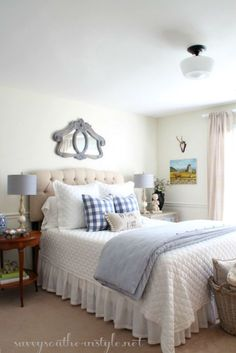 ADD A SUBTLE TOUCH OF COLOR WITH QUILT, PILLOWS, LAMP, MIRROR. Savvy Southern Style: Ticking and Checks
