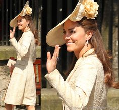 Kate in gold brocade coat and Gina Foster Millinery hat at Zara Phillips' wedding