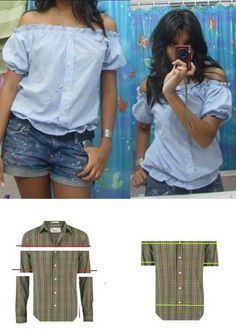 Creative and Cool Ways to Reuse Old Shirts. Refashion of a men's button front shirt into a cute women's off-the-shoulder blouse.Refashion of a men's button front shirt into a cute women's off-the-shoulder blouse. Diy Clothing, Sewing Clothes, Men Clothes, Revamp Clothes, Mens Button Up, Button Up Shirts, Umgestaltete Shirts, Dress Shirts, Shirt Tutorial