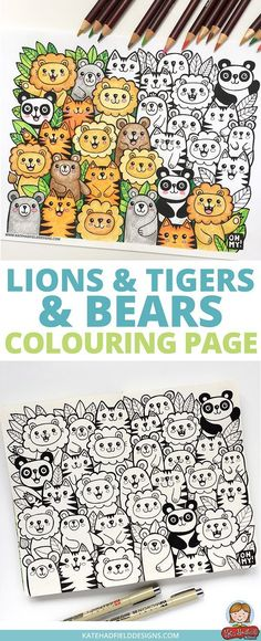 Fun Kawaii Style Lions And Tigers Bears Colouring Page Download This Free Sheet