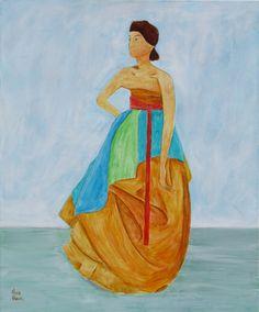 Woman with Red Obi  61 x 51 cm #hanbok #eurasian #womanstanding #modernpainting #figurepaintings
