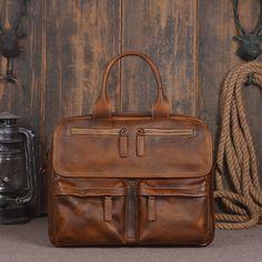 Handmade Vintage Genuine Leather Men's Briefcase Messenger Bag Laptop Bag in Navy 14134