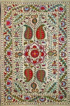 Beautiful vintage Suzani carpet