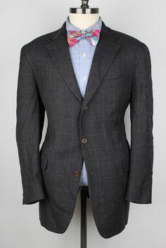 DANIEL CREMIEUX Grey Plaid Pure New Wool 42 R mens Sport Coat Blazer #DanielCremieux #ThreeButton