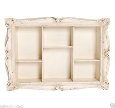 Vintage Antique Style Shabby Chic Wooden Carved Wall Shelf Shelves Cream Decor