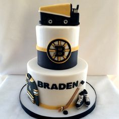 boston bruins cake | Kyrsten's Sweet Designs Hockey Birthday Cake, Hockey Party, Themed Birthday Cakes, 7th Birthday, Knight Cake, Hockey Cakes, Military Cake, Luau Cakes, Sport Cakes