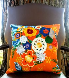 REF A002  Handmade tropical multicolored throw by OutofSpaceDesign, $65.00