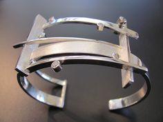 Sterling and diamond cuff bracelet.