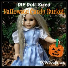 This Halloween Candy Bucket American Girl Doll Plastic Canvas Pattern is quick to work up and will go perfectly with doll Halloween costumes for trick-or-treating.                                                                                                                                                                                 More American Girl Crafts, American Doll Clothes, Ag Doll Clothes, American Dolls, Sewing Dolls, Ag Dolls, Girl Dolls, Ag Doll Crafts, Diy Doll