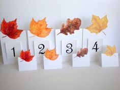 Autumn Leaf  Small Place Card Table Number card by evLienDesigns, $70.00