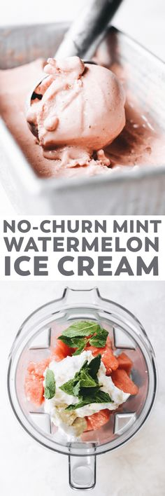 Summertime in a scoop! Easy Watermelon Mint Ice Cream made with frozen watermelon, coconut cream, and fresh mint. Perfect as soft-serve or scooped! #vegan #icecream #healthy #recipe #paleo #dairyfree