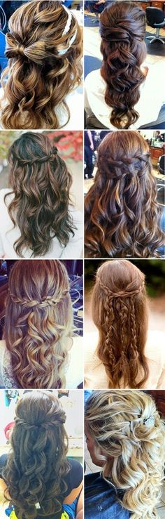 Half-up hair styles. I like the first one on the right, and the second, third and fourth on the left.