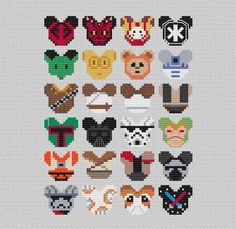 Disney Mouse Ears Star Wars Collection Stitch Pattern .PDF - Instant Download Perler Bead Templates, Diy Perler Beads, Pearler Bead Patterns, Perler Bead Art, Perler Patterns, Peyote Patterns, Weaving Patterns, Bracelet Patterns, Cross Stitching