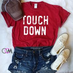 TOUCHDOWN FOOTBALL SHIRT, FOOTBALL MOM SHIRT, GAME DAY SHIRT, TAILGATE SHIRT- MINERAL WASH