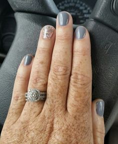 "My new favorite mani for fall...Gelish ""Clean Slate"" and ""Water Field"" fall nail colors gel polish nail design"