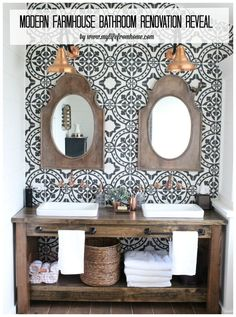 Modern-Farmhouse-Bathroom-Renovation-bathroom-farmhouse-bathroom-farmhouse-style-copper-accents-rustic-and-wood-vanity-bathroom-reveal- cement tile- patterned wall tile- wood vanity- shiplap wall treatment