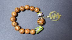 wooden beads and glass bracelet with by OriginalCustomDesign, $20.00