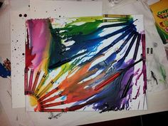 Blowdried crayons on canvas