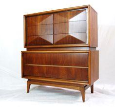 Diamond fronted Highboy by United Furniture Mid Century Vintage MCM | eBay