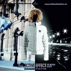Look good in the light, stay visible in the dark! NICKELSON Moena Silver with reflective effect. Visit www.italianfashion.ie