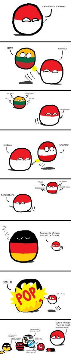 """Unification Undone"" by avensis 32son (Poland, Lithuania, Austria, Germany ) #polandball #countryball #flagball"