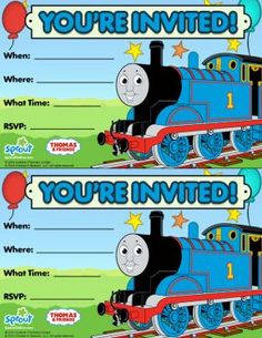 Thomas Amp Friends Party Invitation