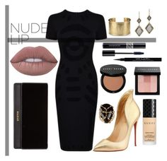 """""""#NudeLip // Black ▪️"""" by ashleeyneeo on Polyvore featuring beauty, Christian Louboutin, Blue Nile, Rosantica, McQ by Alexander McQueen, Dana Kellin, Balmain, Gucci, Bobbi Brown Cosmetics and Givenchy"""