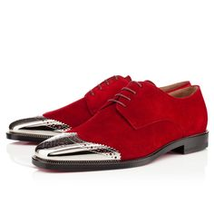Christian Louboutin GARETH ZIP FLAT VEAU VELOURS , ROUGE IMP/SILVER, Suede, Men Shoes