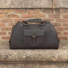 Custom Made Luxury Travel Duffel in Black and Grey Painted Full Grain Leather From Robert August. Create your own custom designed shoes. Custom Design Shoes, Mens Fashion Shoes, Grey Paint, Black Fabric, Luxury Travel, Leather Backpack, Leather Bag, Messenger Bag, Black And Grey